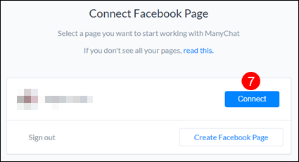 Select facebook page with manychat